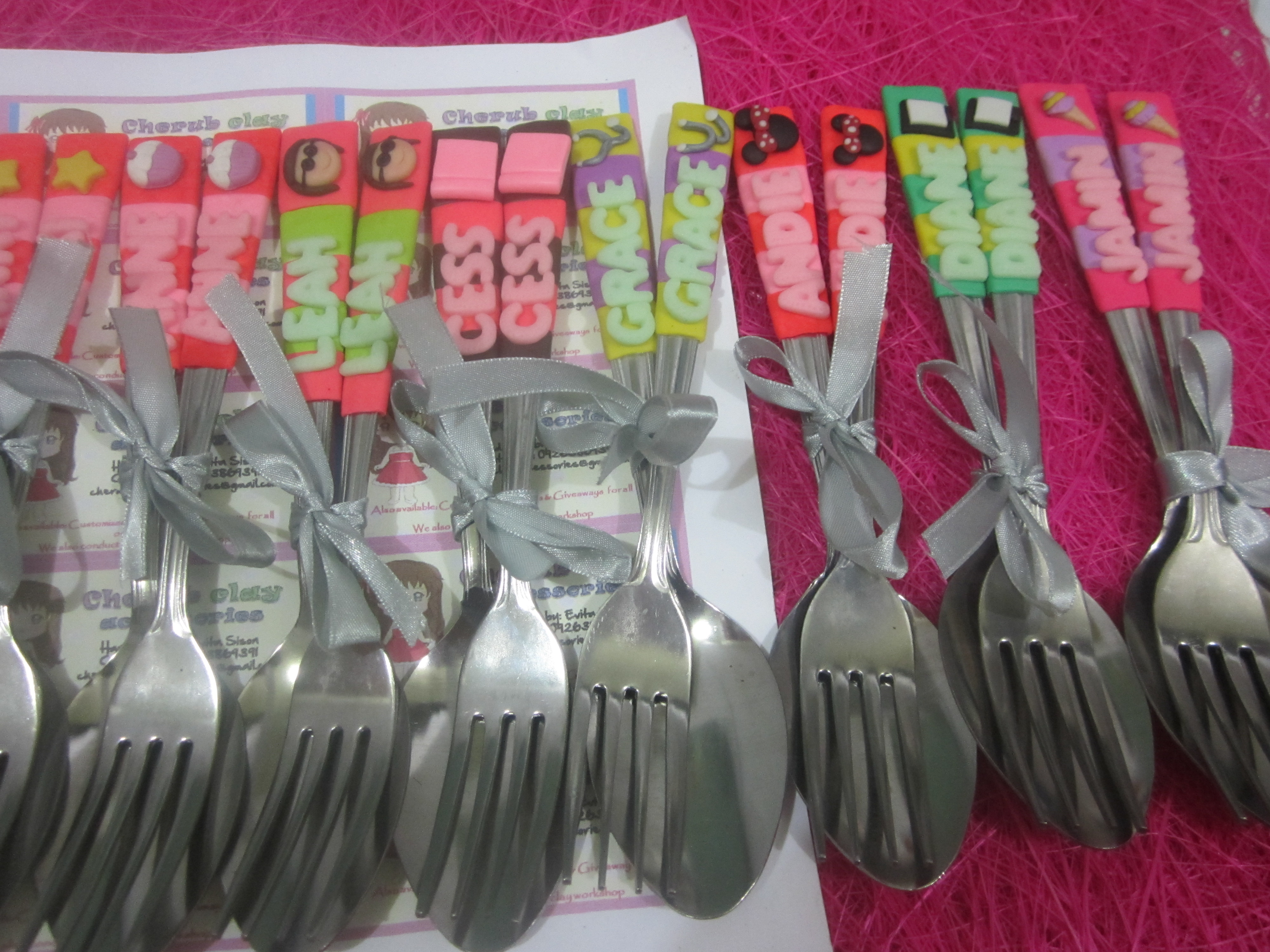Personalized Spoon And Fork Cherub Clay